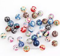 40 Pcs Mixed Polymer Clay Fimo Flower Round Loose Spacer Beads Jewelry DIY 8mm