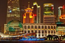 SHANGHAI NIGHT CITYSCAPE POSTER STYLE B 24x36 HI RES