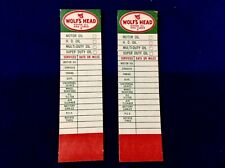 Vintage, Wolf'S Head, dated 12/66, oil change reminder stickers, oil can