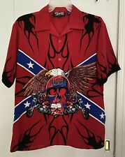 MEN'S DRAGONFLY CLOTHING CO SKULL, EAGLE & MOTORCYCLE RIDERS BUTTON SHIRT SZ L