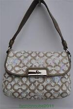 New Coach Kristin Op Art Mushroom Taupe Signature Sequin Pouch - 45088 SV/X6