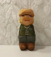 Vintage Sweden ? Hand Carved Wood Figure Signed GJ or CJ Rare Primitive Folk Art