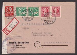 Germany. Soviet Zone. Thuringia. Censored Registered Cover sent 11/02/1946