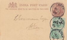 ADEN YEMEN  1906 INDIA POSTAL STATIONERY CARD UPRATED BY TWO ADDITION STAMPS