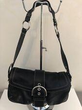 COACH SOHO BLACK LEATHER SHOULDER BAG SATCHEL HANDBAG 3653 PRE-OWNED