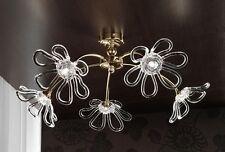 Plafoniera contemporanea design moderno oro e cristallo BELL daisy 3010/PL5L