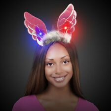 LED Light Up Blinking Angel Iridescent Pink Wings Headband Built in Red & Blue.
