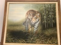"Full Body Bengal Tigerl on Canvas Painting by "" D.Milano"" Wood Frame 29"" x 25"""