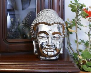 Dekorativer Buddha Kopf - Keramik, spiegelnd Glasiert