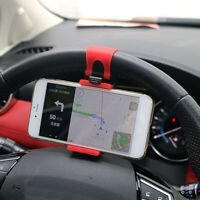 Red Car Interior GPS Phone Holder Mount Stand Steering Wheel Clips Accessories