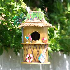 Aloha Tiki Bar Hanging Metal Bird House Nesting Box Feeder Garden Decoration Art
