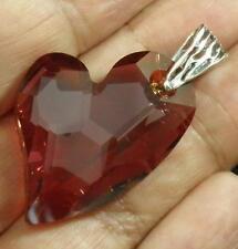 Avilagems Heart Swarovski Crystal Red Magma .925 Sterling Silver Pendant Bail