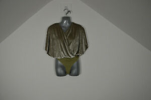 ASOS Thong Body suit Crushed Velvet Size size 8 BNWT Batwing Khaki