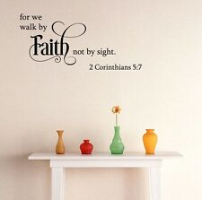 FOR WE WALK BY FAITH Corinthians Home Bedroom Vinyl Wall Decal Lettering Words