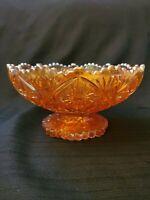 Imperial CARNIVAL GLASS PEDESTAL BOWL Marigold ORANGE IMPERIAL hobstar~ RARE