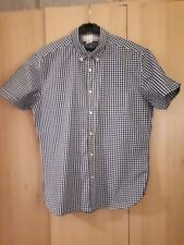 H&M navy blue check short sleeved smart shirt.large