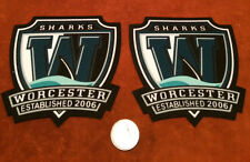 2 Worcester Sharks AHL Printed Twill Shoulder Hockey Crest Patch 4.25 by 4.25