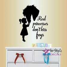 Vinyl Decal Real Princesses Don't Kiss Toads Phrase Little Girl Kisses Horse 365