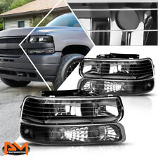 For 99-02 Chevy Silverado/00-06 Suburban Bumper Headlight/Lamp Clear Side Black