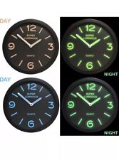 "12"" Glow In The Dark Round Novelty Wall Clock Hanging Bedroom Home Office BEIGE"