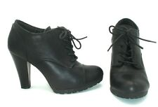 LOW BOOTS LACEES CLOSER BY CHAUSSEA SIMILI CUIR NOIR - T 37,5 / 38 - TTBE