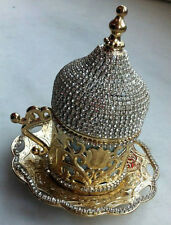 Tulip Turkish Espresso Coffee Mug Cup Porcelain Lid Saucer Swarovski Coated