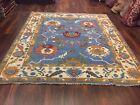 "Hand Knotted Blue Turkish Oushak Heriz Geometric Area Rug Carpet 8'3""x9'5"",#34"