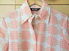 Vintage Mod Women's White & Coral Houndstooth Polyester Knit Blouse Nwt 12 L