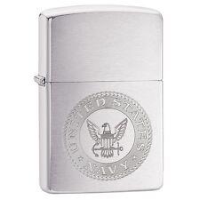 """Zippo """"United States Navy Seal"""" Brushed Chrome Finish Lighter, Full Size, 29385"""