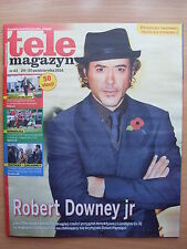 ROBERT DOWNEY JR on front cover Polish Magazine TELE MAGAZYN 43/2014