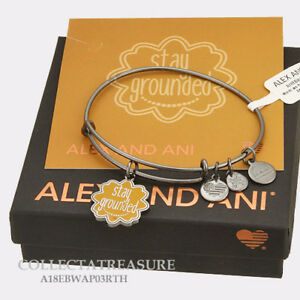 """Authentic Alex and Ani """"Stay Grounded"""" Midnight Silver Expandable Charm Bangle"""