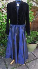 STUNNING VINTAGE LAURA ASHLEY VELVET AND SATIN MAXI DRESS SIZE 10