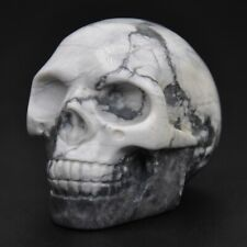 "1.9"" Stone Carving White Howlite Turquoise Skull Figurine Crystal Healing Decor"