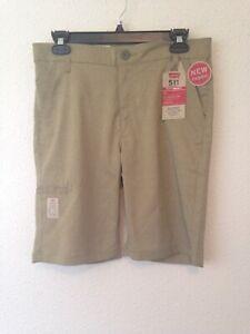 Levis 511 boys youth shorts tan khaki stretch dry lightweight sz 16 NEW $42 #968