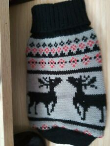 NEW BLACK AND GREY DOG CHRISTMAS JUMPER, SIZE XS.  (2)