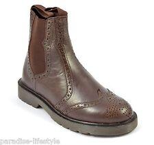 Para Hombre Marrón zapato bajo de cuero zapatos Chelsea Botas De Cuero Suela De Goma De Entrega Gratis tamaño 9