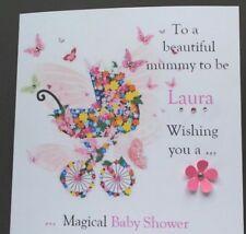 PERSONALISED  HANDMADE CARD NEW BABY/BABY SHOWER MUMMY TO BE