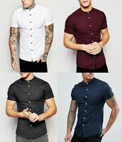 Mens Grandad Short Sleeve Shirts Smart Casual Slim Fit Shirt Mandarin PS26