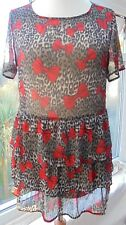 TOP SHOP ANIMAL PRINT TUNIC TOP SIZE 10 (FITS SIZE 12) LAYERED RED BOWS