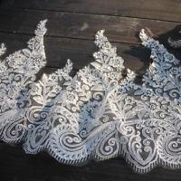 """13.4""""*2Y Off White Alencon Lace Trim, Corded Bridal Dress Lace Trim,Vintage Lace"""