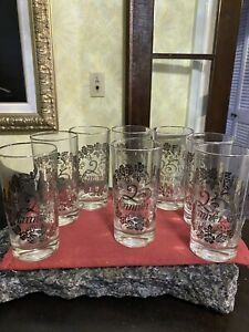 Set Of 8 25th Wedding Anniversary Glasses Vintage Silver Font Excellent