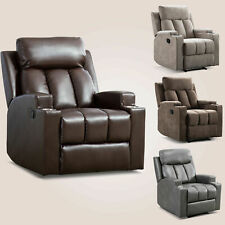 Manual Recliner Chair With 2Cup Holders Home Theater Single Seating Lounge Sofa