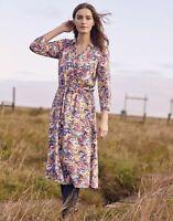 Joules Womens Winslet Long Sleeve Woven Shirt Dress - Blue Floral