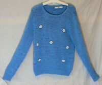 Girls M&S Light Blue 3D Sparkly Jewelled Diamante Flowers Jumper Age 10-11 Years
