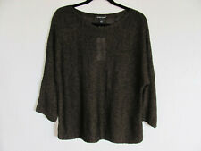 Eileen Fisher Bateau Sweater-3/4 Slit Sleeves-Bronze/Black-Size Small-NWT $188