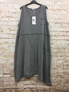Moonshine Fashion Kleid Tunika Überwurf Lagenlook Übergröße 48 50 52 Neu grau