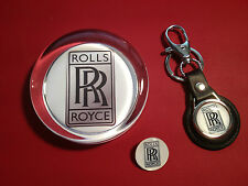 Rolls Royce Gift Set; Glass Paperweight, Leather Rolls Royce Key Ring & Badge