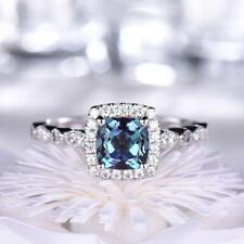 Sparkling Blue Cushion Shape Aquamarine & Shiny Cubic Zirconia Engagement Ring