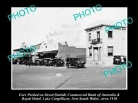 LARGE OLD HISTORICAL PHOTO OF LAKE CARGELLICOE NSW VIEW OF MAIN STREET c1930