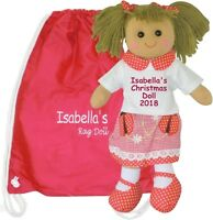 Personalised Large Rag Doll Christmas Santa Baby Xmas Ladybird Gift & Red Bag
